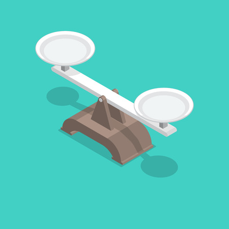 Scales with bowls and a shadow. Isometric illustration. 3D style. Balance design element. A vector illustration in flat style.