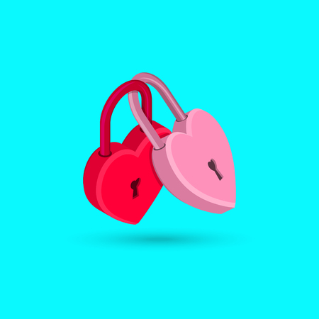 The fastened red and pink hearts in the form of locks. Concept of love, wedding, engagement. Isometry.3D style. Vector illustration. Banque d'images - 99971856