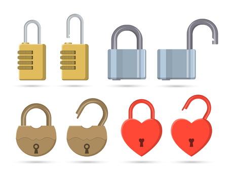 A set of the closed and open locks on the isolated white background. Elements for design. A vector illustration in flat style.