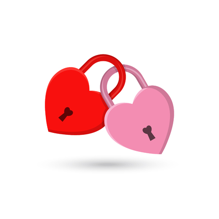 The fastened red and pink hearts in the form of locks. Concept of love, wedding, engagement. Flat style. Vector illustration. Banque d'images - 99971888