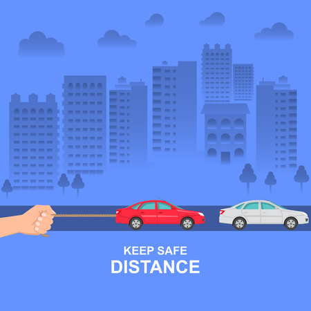 The hand constraining car speed symbolizes increase in distance between vehicles Illustration