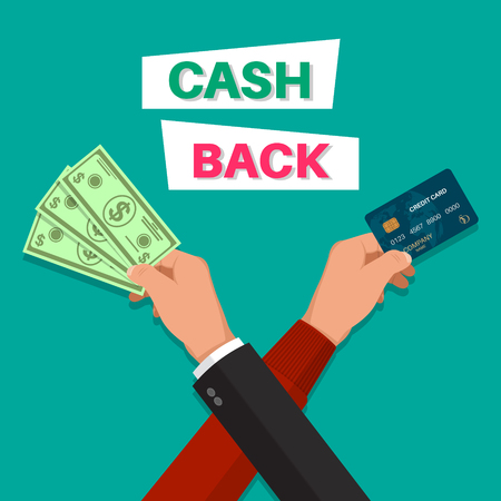 Cash back. Hands with the banknote and the credit card.