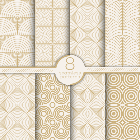 Set of art deco seamless patterns. Stylish modern geometric textures. Repeating polygonal shapes, lines, rhombuses, scales, arcs. Vector seamless backgrounds