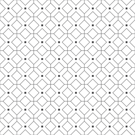 Vector seamless pattern. Geometrical modern linear texture. Regularly repeating classical tiles with outline rhombuses, diamonds, thin lines, squares. Ilustrace