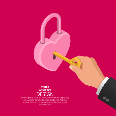 Hand with a key in the lock of a shape of heart.Concept of a wedding.Isometry.3D style. Vector illustration.