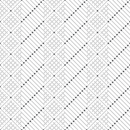 Vector seamless pattern. Infinitely repeating modern texture consisting of small dots which form dotted alternate shapes, rhombus, diamond, grids, diagonal lines. Illustration