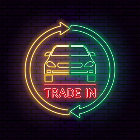Neon sign. Two halves of the car with an exchange arrow against a dark background. Good bargain.Concept get prettier transactions it is made with the vehicle.The shining vector illustration for posters, advertizing, banners and other purposes. Banco de Imagens - 103938066