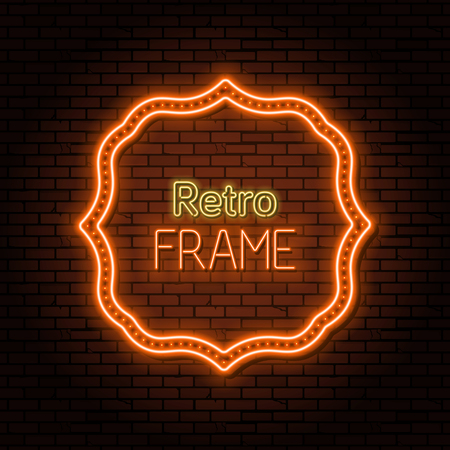 The neon orange frame with LED illumination in a retro style. The shining poster.Billboard with the place for the text.The vectorial burning template in ancient style.