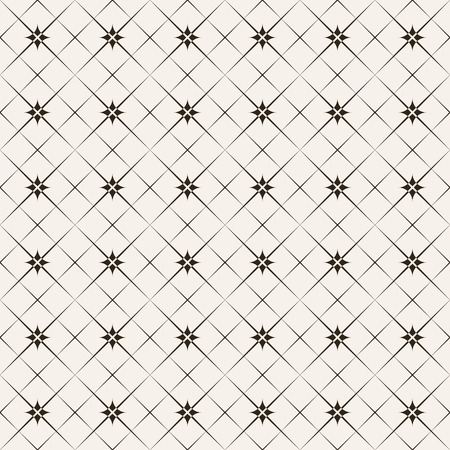 Seamless pattern. Modern stylish texture. Regularly repeating simple geometrical tiles with linear rhombuses, crosses. Vector element of graphical design