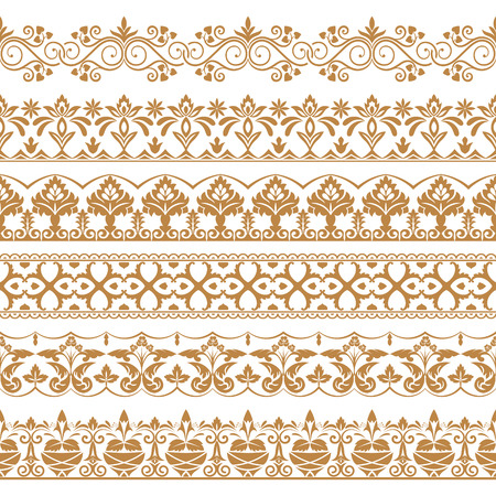 Vector set of art dividers in east style. Borders for the text, invitation cards, various printing editions. Golden seamless elements of design. Illustration
