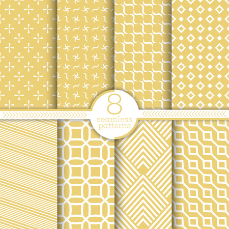 Set of vector seamless patterns. Modern stylish textures. Regularly repeating geometrical ornaments with crosses, spiral shapes, waved forms, rhombuses, diamonds, corners, polygons, thin lines. Illustration