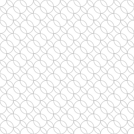 Vector seamless pattern. Modern geometrical texture with regularly repetition crossed outline circles which form ovals, rhombuses. Trendy design. Contemporary background