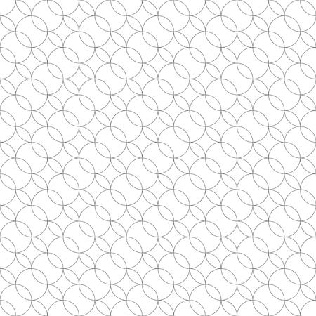 Vektor nahtlose Muster. Moderne geometrische Textur mit sich regelmäßig wiederholenden gekreuzten Umrisskreisen, die Ovale, Rauten bilden. Trendiges Design. Zeitgenössischer Hintergrund