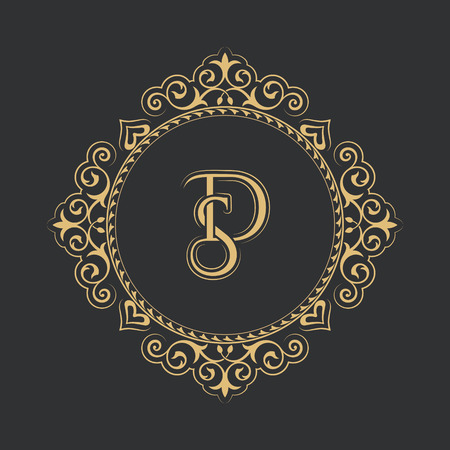 Monogram from intertwining letters SD in elegant flower frame.Baroque style. Place for the text. Golden template for cafe,bars,boutiques,invitations. business.Vintage element of design.