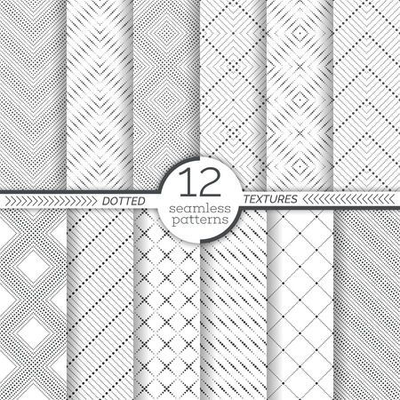 Set of dotted seamless patterns. Abstract lace background. Modern small dotted texture with regularly repeating geometrical shapes, small dots, dotted rhombus, diamond, zigzags. Illustration