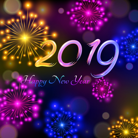 Happy New Year 2019.The multi-colored text in the form of dabs a brush.The shining festive fireworks. Vector illustration for cards, invitations, poster, banner, calendar, holiday decorations.