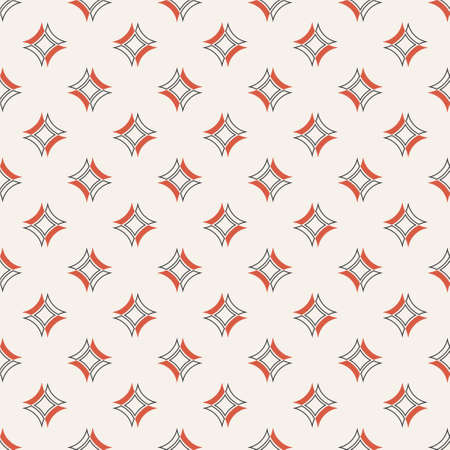 Vector seamless pattern. Abstract small textured background. Classical simple geometrical texture with repeating rhombuses, arcs. Surface for wrapping paper, shirts, cloths, press.