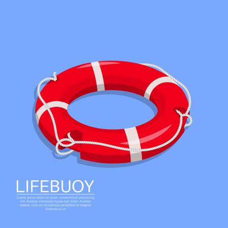 Aro salvavidas en el fondo aislado. Un tema para la ayuda en el agua, el rescate del ahogamiento. Stock de mar. Un elemento de diseño 3D. Isometría. Una ilustración vectorial de estilo plano.