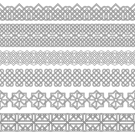Vector set of monochrome dividers.Borders for the text, invitation cards, various printing editions.Celtic ornament. Seamless horizontal patterns. Ethnic elements of design. Illustration