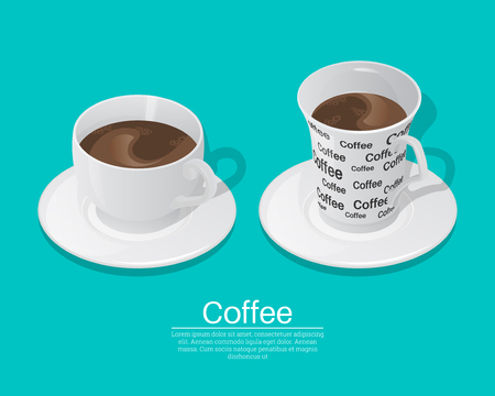 A set of cups from coffee on the isolated green background. Elements for design.3D. Isometry. Realistic vector illustration.