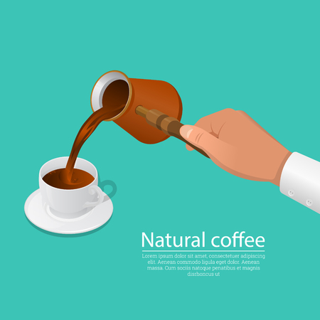 The hand pours fresh welded coffee in a cup. Concept of natural food. Elements for design.3D. Isometry. Vector illustration.