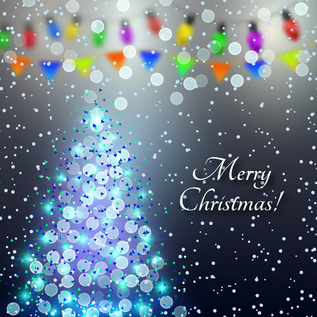 Merry Christmas. Festive New Years background. An indistinct vector illustration for invitations, cards, congratulations, parties.