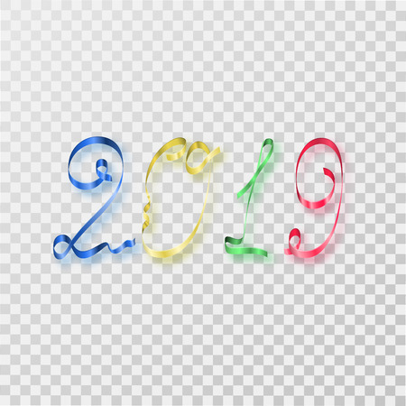 Happy new year 2019. Multicolored serpentine numbers with a shadow on an isolated background. Congratulation. Element for design. Vector illustration. Illustration
