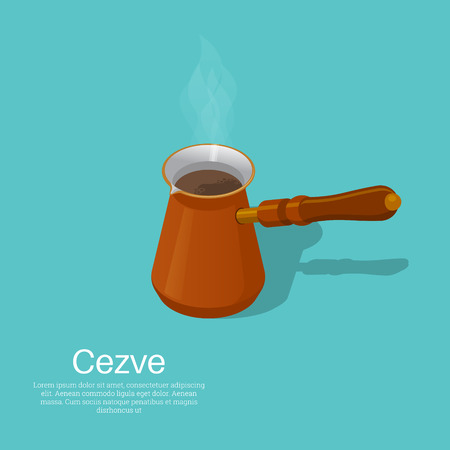 Cezve.The vector isolated 3D illustration. Isometry. An element for design. Concept of natural food.
