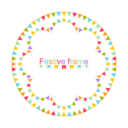 Multi-colored festive frame. A round ornament for the text.Design element for invitations, parties, Christmas actions. Vector illustration.