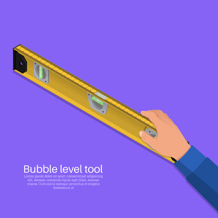 The hand of the worker holds construction level.The tool for measurement. Vector isometric illustration.3D. The isolated object with a shadow.