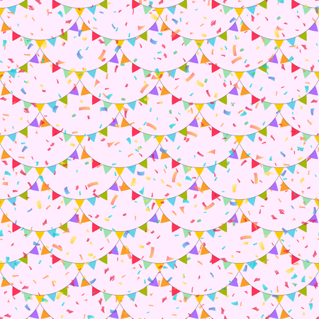 Garlands of colorful festive flags. Background of falling confetti. Seamless pattern. Carnival concept. Vector illustration. Illustration
