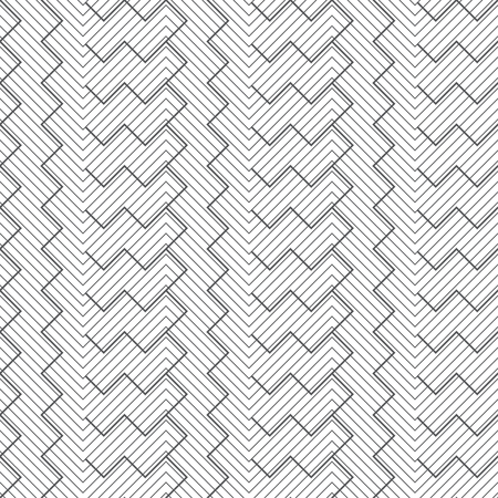 Seamless pattern. Abstract linear textured background. Modern stylish geometrical texture. Regularly repeating zigzag thin lines. Corner strips. Vector element of graphical design Ilustração