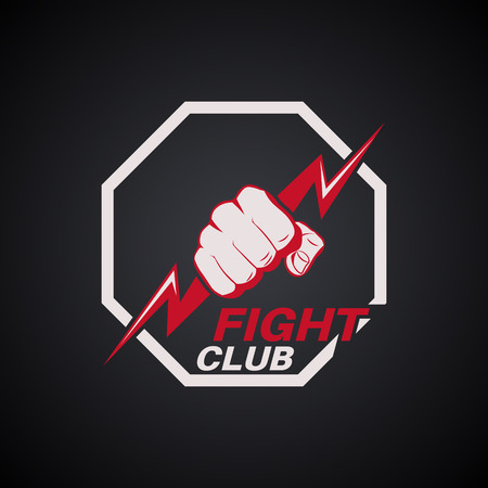 Fist with the lightning in an octagon. Emblem fight club. Logo. Concept of mixed martial arts. The press on a t-shirt. Vector illustration. Çizim