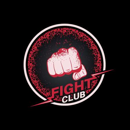 Fist with blood spots in a circle. Emblem fight club. Logo. Concept of mixed martial arts. The press on a t-shirt. Vector illustration. Ilustrace