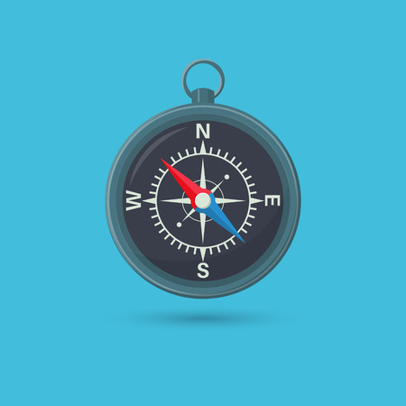 Compass with a shadow. Device of orientation to areas. Concept of travel and tourism. An element for design. A vector illustration in flat style. Иллюстрация