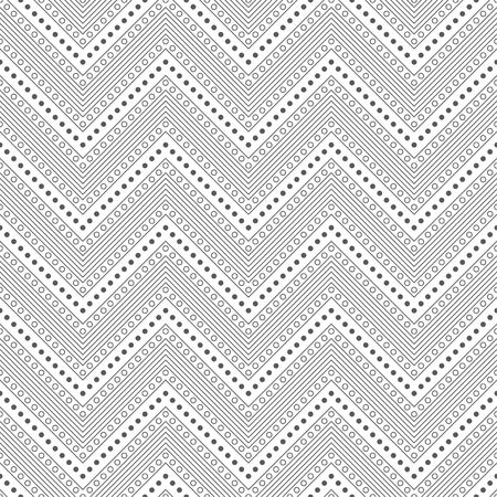 Seamless pattern. Modern stylish texture. Regularly repeating geometrical zigzag shapes with thin lines, small dots, circles. Vector element of graphical design 矢量图像