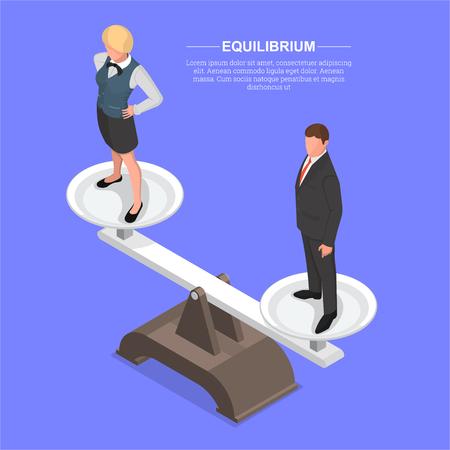 Uomo e donna sulla bilancia. Simbolo di equilibrio. Concetto di uguaglianza, unità. Illustrazione isometrica. 3D .Vettore.