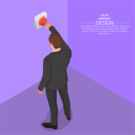 The man presses the red button. Alarm signal, danger.3D. Isometry. Vector illustration.