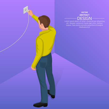 Person connects the power plug to the electrical socket. Contact electric devices. 3d style. Isometric projection. Flat design. Vector illustration Stock Illustratie