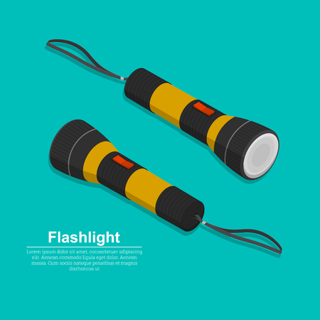 Set of two electric torches.The manual device for lighting. Flat style. Isometry.3D. Elements for design. Vector illustration.