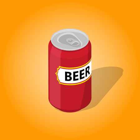 Can of beer with a shadow on the isolated yellow background.3D. Isometric icon. Low alcohol drink. An element for design. Vector illustration. Illustration