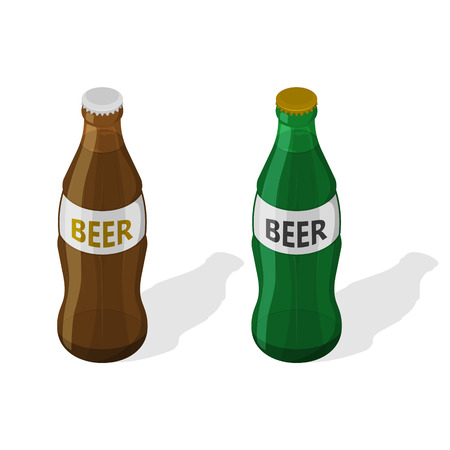 A set of two glass bottles of beer with a shadow on the white isolated background.3D. Isometric icon. Low alcohol drink. An element for design. Vector illustration. Stock fotó - 125196560