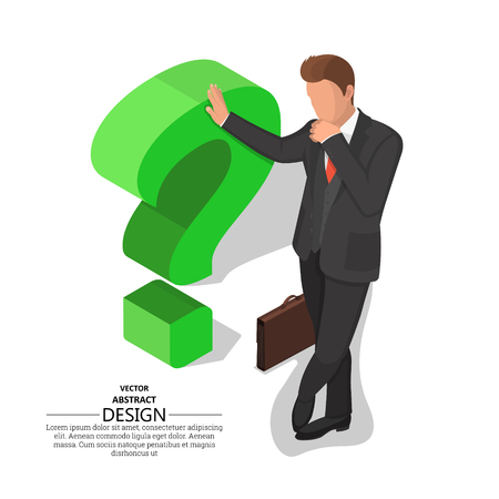 The businessman leans on a question mark. Concept of an impasse. Barrier, obstacle, dilemma. Difficulty in decision-making. 3D. Isometry. A vector illustration in flat style.