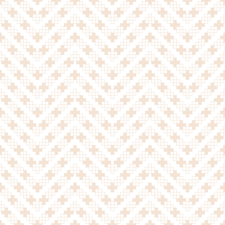 Seamless pattern. Modern simple geometrical texture. Regularly repeating zigzag shapes with crosses, outline squares. Vector element of graphical design Stock Illustratie