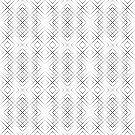 Seamless pattern. Modern halftone texture. Regularly repeating linear grids from rhombuses, diamonds with decreasing contour thickness. Thin line. Vector element of graphical design Foto de archivo - 125196573