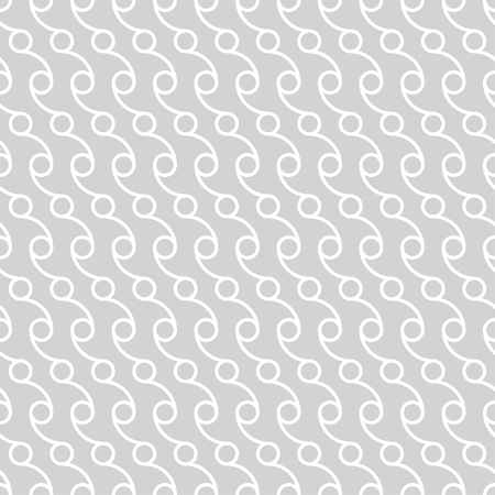 Seamless pattern. Modern stylish texture. Regularly repeating diagonal gray white ornament with circle, dots, arcs. Vector element of graphical design Stock Illustratie