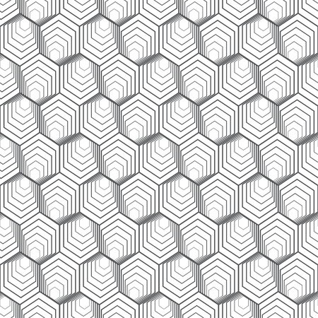 Seamless pattern. Infinitely repeating modern geometrical texture consisting of linear hexagons, cubes. Thin line. Vector element of graphical design