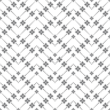 Seamless pattern. Modern simple geometrical texture. Regularly repeating zigzag shapes with dotted lines, flowers. Vector element of graphical design