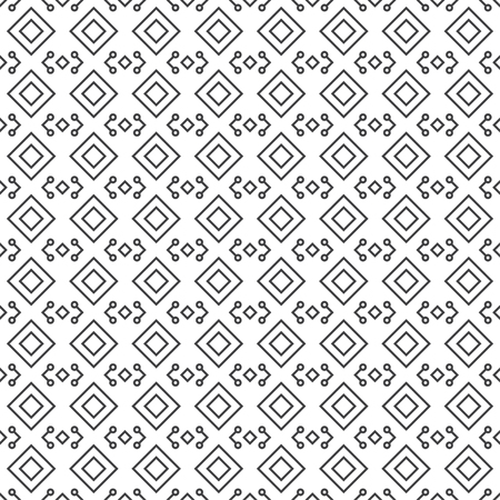 Seamless pattern. Abstract geometrical background. Simple linear texture with repeating corner thin lines, dots, rhombuses, diamonds. Vector element of graphical design