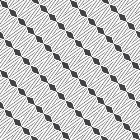 Seamless pattern. Modern stylish texture. Regularly repeating diagonal geometrical ornament with thin zigzag lines, rhombuses. Vector element of graphical design
